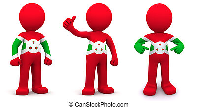 3d character textured with flag of Burundi
