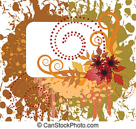 Autumn spattered background - Autumn design with the card on...