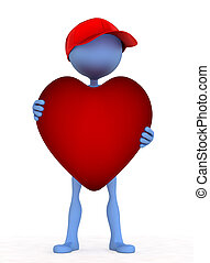 3d person holding heart in his hand Isolated on white...