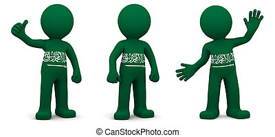 3d character textured with flag of Saudi Arabia isolated on...