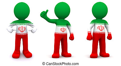 3d character textured with flag of Iran