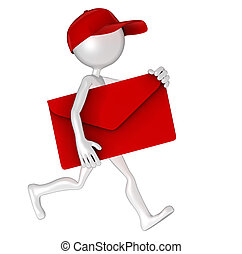 Postman with envelope - 3d Postman delivering mail. Isolated