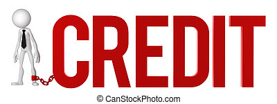Businessman with a foot chained to a CREDIT sign. Conceptual...