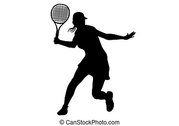 tennis player - Woman tennis player Hand painted...