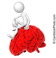 3d person sitting on red brain in a thoughtful pose Isolated...
