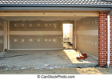 Light in garage - Garage in house under construction,...