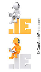 3d character sitting on .IE domain name.