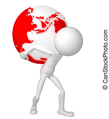 3d man holding earth globe on his shoulders. European and african side. Isolated.