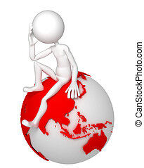 3d man sitting on Earth globe in a thoughtful pose. Asian...