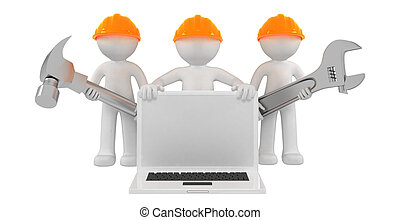 Builders with laptop and tools. Isolated on white background