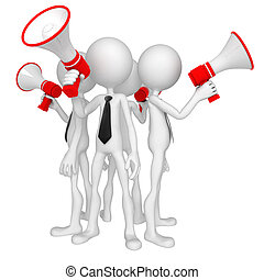 Group of business people with megaphone