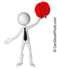 Businessman hold brain Isolated