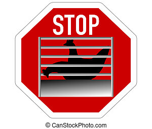 Stop sign caging of hen