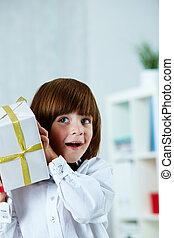 Surprised boy - Photo of surprised boy with giftbox