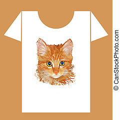 childish t-shirt design with  happy cow and cat