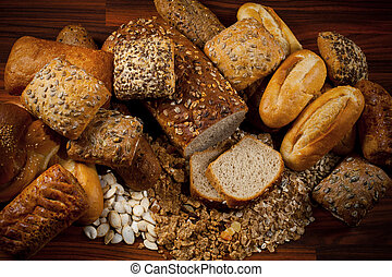 baked goods - Assortment of baked goods in wood background
