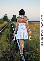 woman on the railway