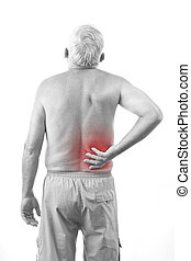 man with back pain - Senior man with back pain, isolated in...