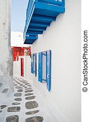 Greek alley - Idyllic alley, Cyclades islands