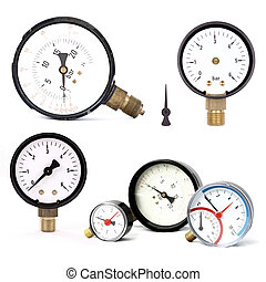 pressure meters isolated - group of pressure meters isolated...
