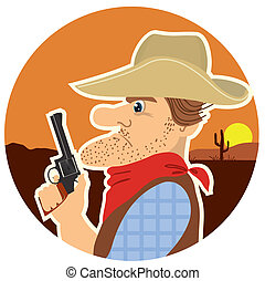 Cowboy portrait.Vector color cartoons - Cowboy with gun...