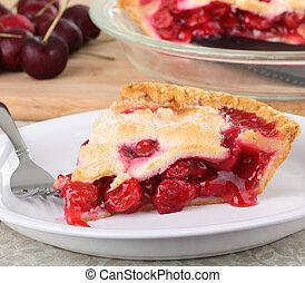 Cherry Fruit Pie - Slice of cherry pie on a plate with...