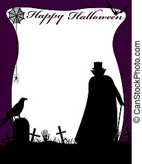 Halloween illustration with dracula in cemetery