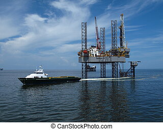 Supply Boat at Rig - Supply boat servicing gulf of mexico...
