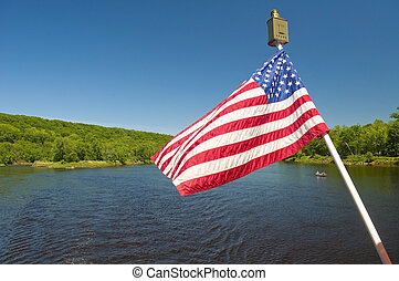 American flag waving in the wind - The American flag waving...