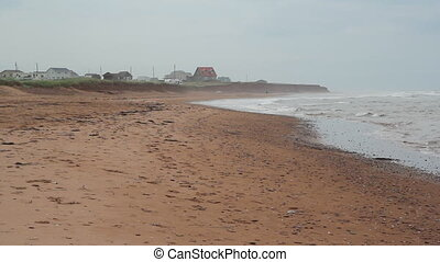 Misty beach. Wide. - Misty beach on grey day. Prince Edward...