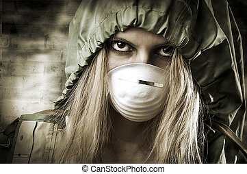 Portrair of Sad woman in breathing mask - Post apocalypses...