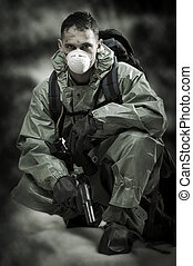 Portrair of person in gas mask. Soldier on war - Post...
