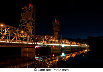 Lift bridge at Night - The lift bridge in Stillwater...