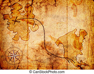 treasure map with a compass on it