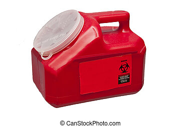 Sharps Container - A container used to store used needles...