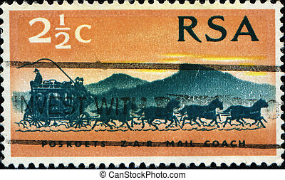 SOUTH AFRICA - CIRCA 1969: A stamp printed in South Africa...