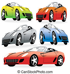 Cartoon Style Racing Cars set
