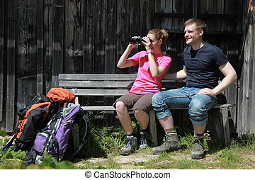 Young people taking a rest in the mountains