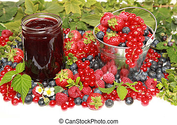 Berries - Strawberries, red currants, raspberries and...