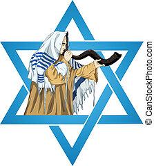estrella, de, david, Rabbi, con, Talit, Sopla, el, Shofar