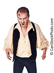 vampire evil zombie - Male vampire with wounded face and...