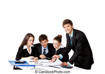 business people - young business people sitting at desk...