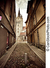 The street in Cesis, Latvia - The vintage view of street in...