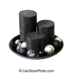 Candle decoration set isolated with clipping path included