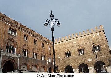 Treviso Veneto, Italy - Historic palace with street light...