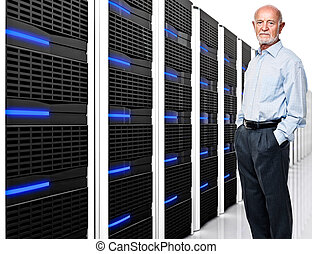 man at work - man and datacentre with lots of server