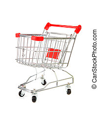 Empty shopping cart - One empty shopping cart over white...