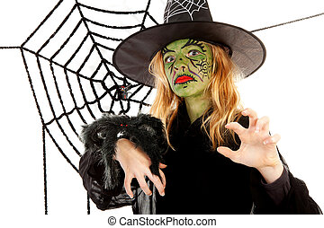 Scary little green witches for Halloween with spiderweb over...