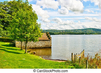 Boathouse on Lake Windermere - An isolated stone boathouse...