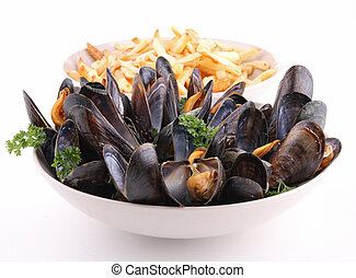 plate of mussel on white - isolated plate of mussels and...